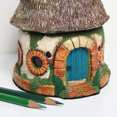 polymer clay house, fairy house,handmade decorative house,witch house,halloween house,house sculpture
