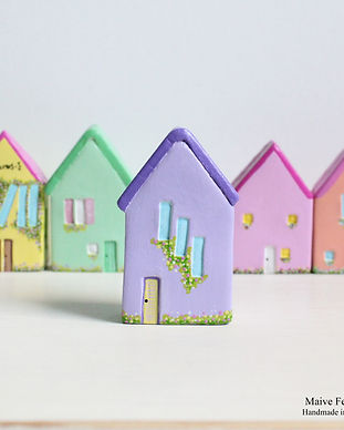 miniature clay houses, maive ferrando, little clay houses, air dry clay houses, ornamental houses, whimsy clay houses, dainty clay houses, miniature houses, fairy houses, clay house, clay fairy house, mini house, colourful clay houses, handmade clay houses, hand sculpted clay houses, casitas de arcilla