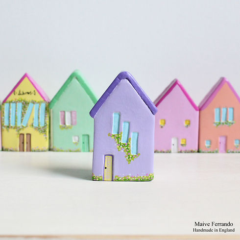 Miniature Clay Houses, Maive Ferrando, Handmade decor, Miniature decor, Little clay houses, miniature houses, air dry clay houses, house ornaments, colourful clay houses, whimsy clay houses