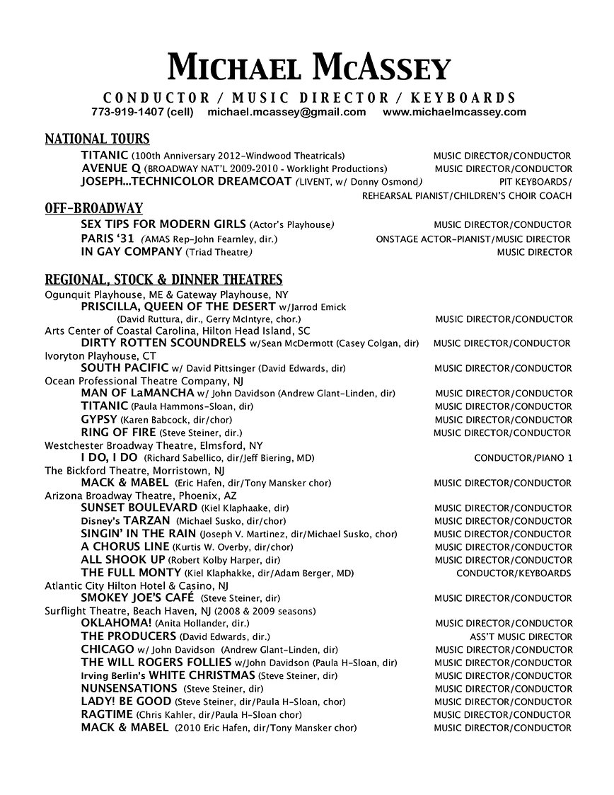 MUSICAL DIRECTOR RESUME.  Resume Music