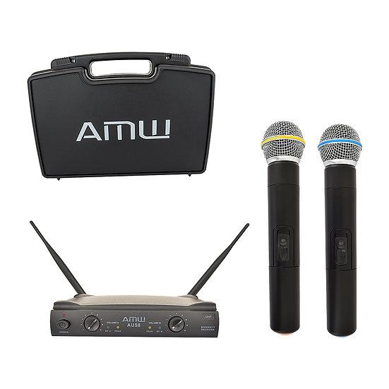 AMW AU58 UHF Microfone Sem Fio Duplo de Mão + Estojo