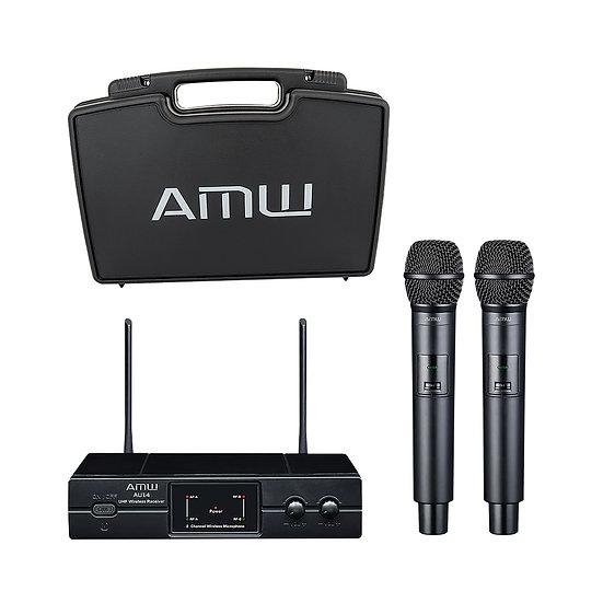 AMW AU14 UHF Microfone Sem Fio Duplo de mão UHF + Estojo