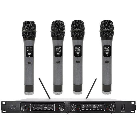 AMW AU4000 UHF Microfone sem Fio Profissional 4 Canais + Estojo