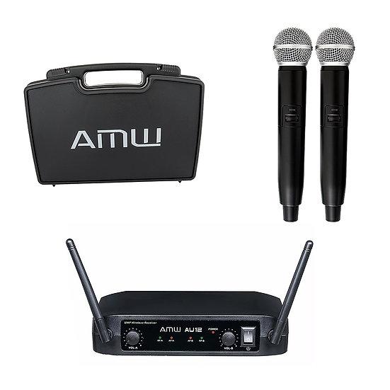 AMW AU12 Microfone Sem Fio Duplo de Mão UHF + Estojo
