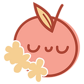 Soft Peach Logo including yellow leaves and flowers