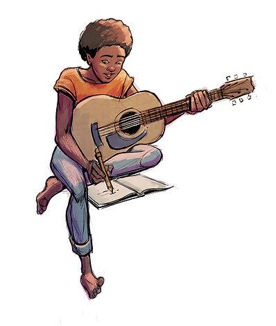 Olivia Moyana character design done by Jui Talukder illustration drawing art, Olivia holding guitar, musician
