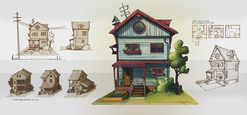Concept art for The Dumb Elephant, Diane's house, by Farhana Hossain aka Dewmanna, artist and illustrator