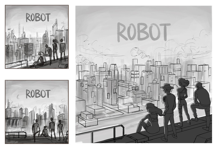 Concept sketch for The Sam Willows' 2018 single, Robot, illustrated by Farhana Hossain