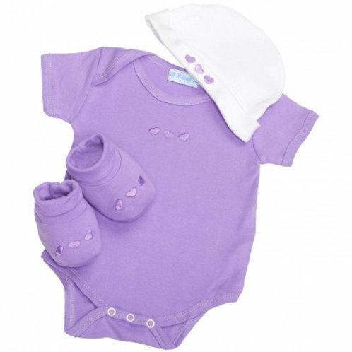 Ballotin de naissance violet  3 pièces
