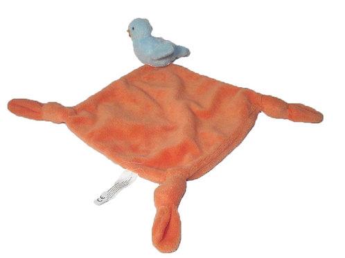 CARRE BLANC doudou oiseau