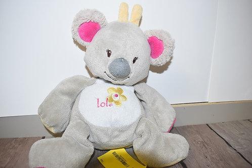 Doudou Peluche Koala Panda Gris Arthur Et Lola Bebisol 24 Cm