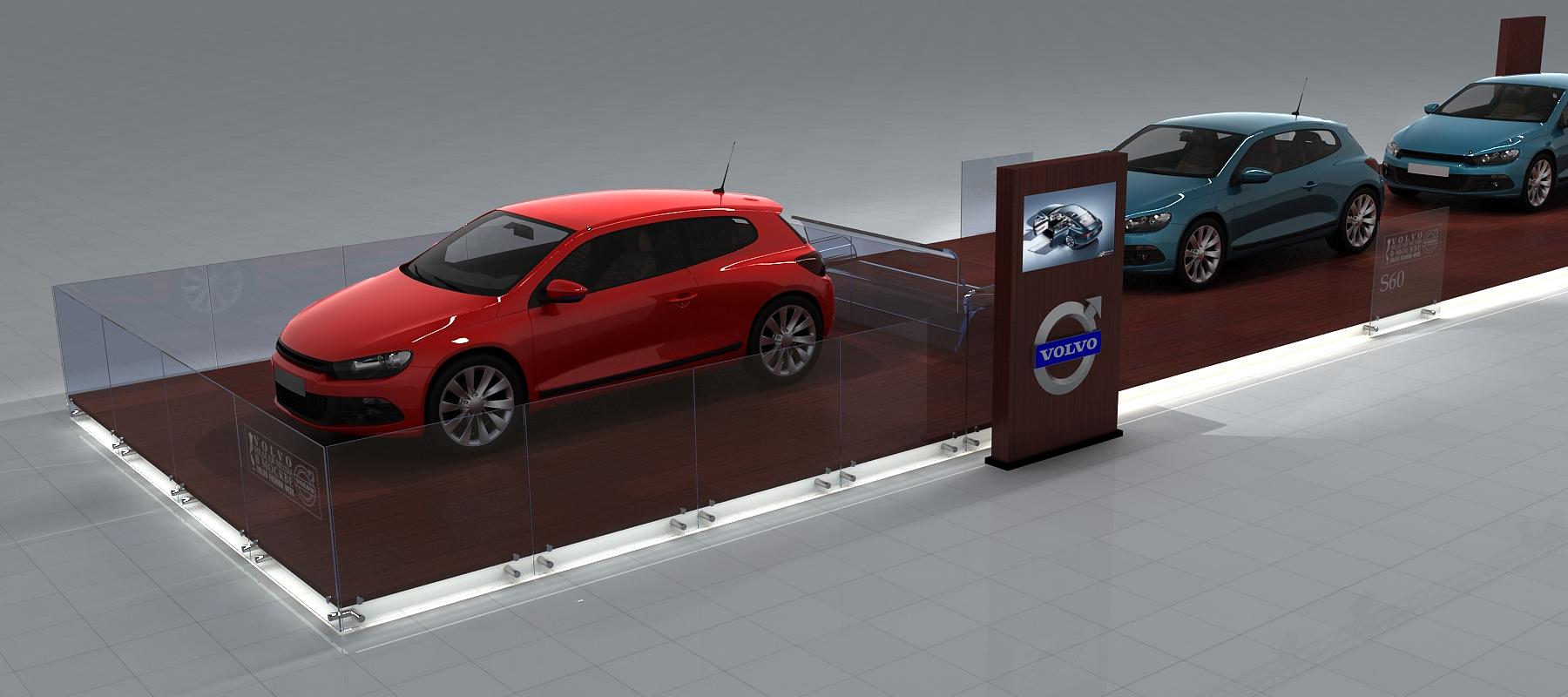 3D визуализация. Выставочно-демонстрационный автомобильный стенд.