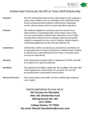 CRITERIA FOR THE SSC AT TEXAS A&M SCHOLARSHIP