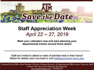 STAFF APPRECIATION WEEK - SAVE THE DATE!