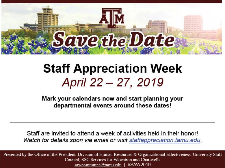 SAVE THE DATE, STAFF APPRECIATION WEEK 2019
