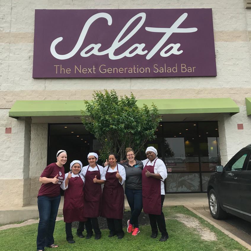 Sara Jo and Sarah with Salata group