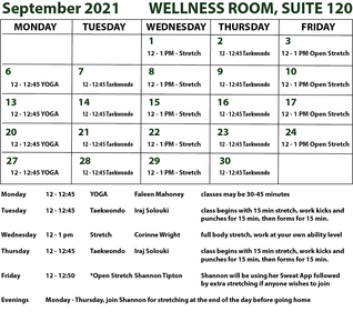 EXERCISE OPPORTUNITIES OFFERED IN SUITE 120