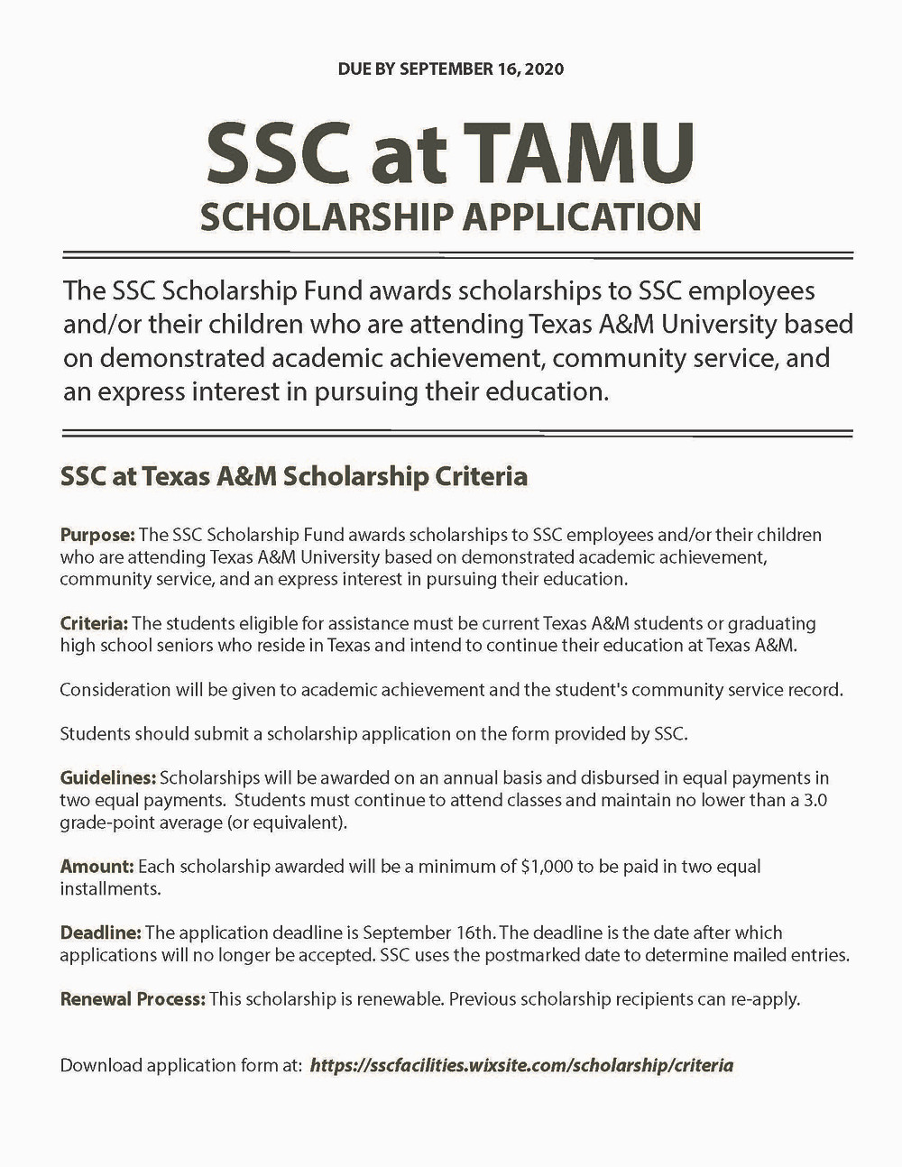 SSC AT TAMU SCHOLARSHIP APPLICATION