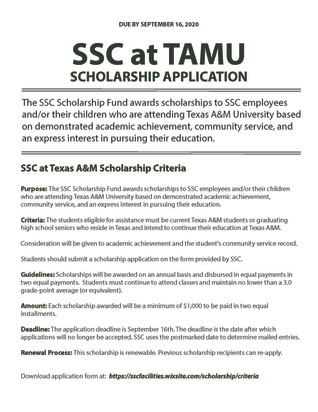 SCHOLARSHIP APPLICATION DUE SEPTEMBER 16TH