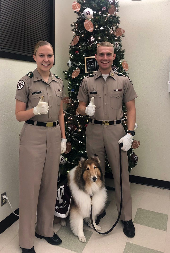 Reveille and her handlers 2019