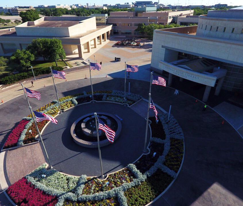 GBL Fountain main drive-drone view