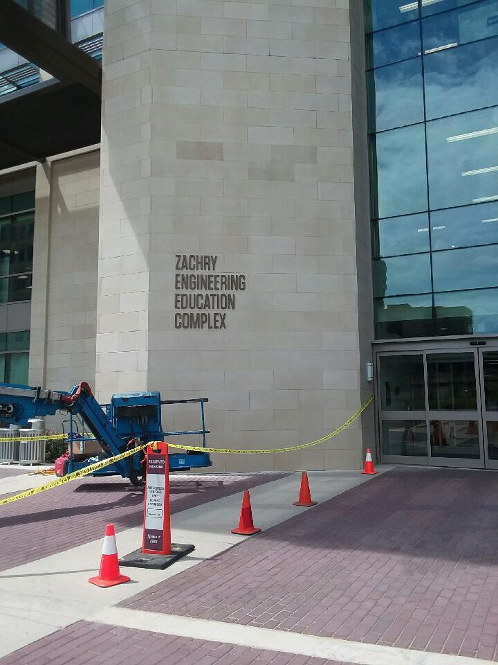 Graphics installed new sign on Zachry Engineering Education Complex