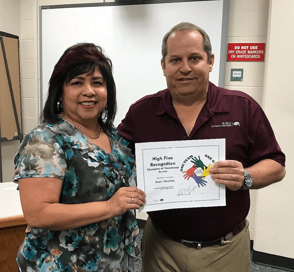 Rosie Sanchez receives High Five Award
