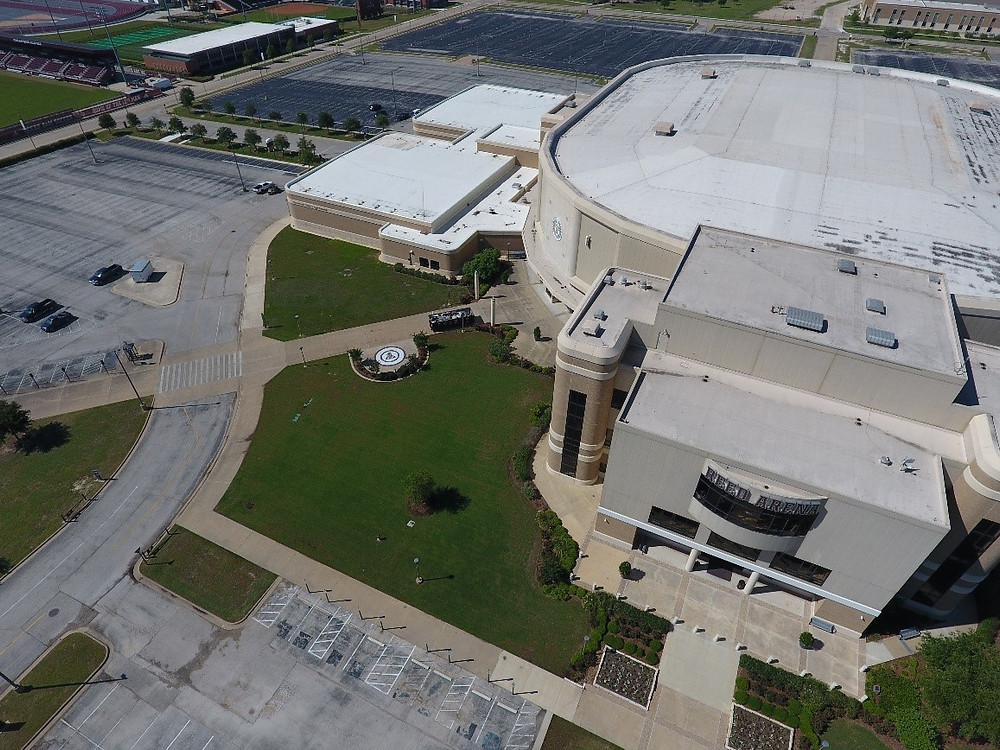 Reed Arena turf renovation, drone view