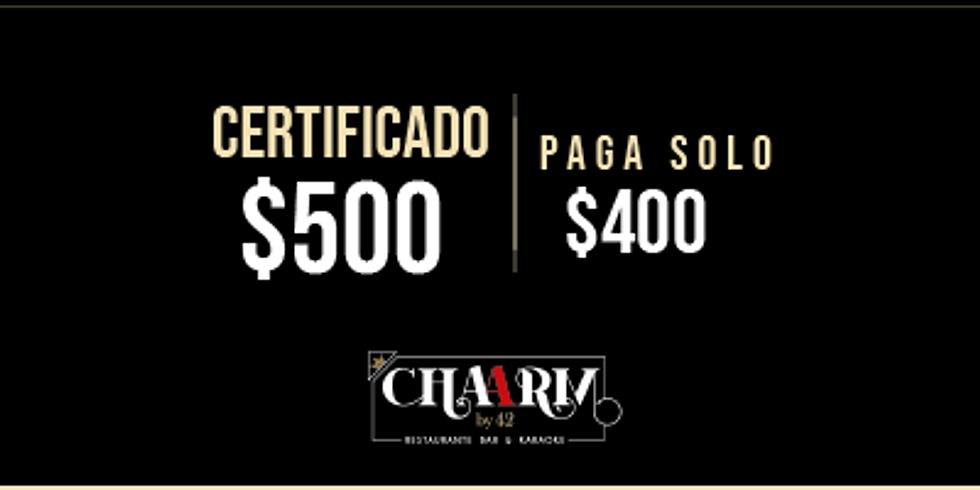 Certificado de $500 / sólo paga $400