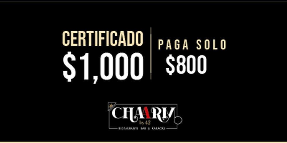 Certificado de $1,000 / sólo paga $800