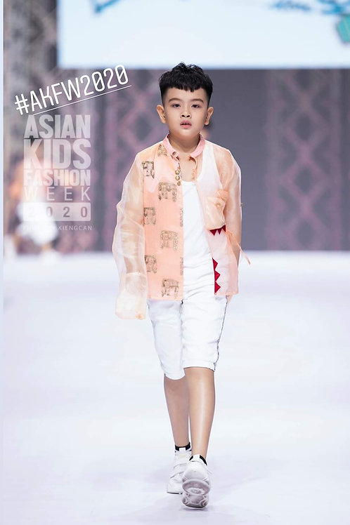 Sheared Boy Shirt with rickshaw motif