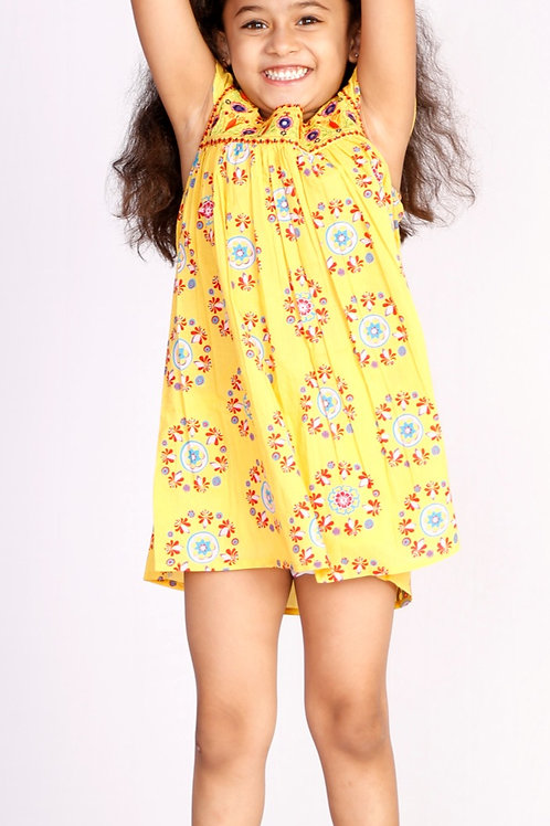 Pure Cotton Dress - yellow
