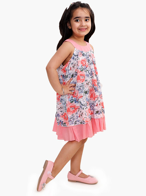 Kelly's Cotton frock with mask - Pink