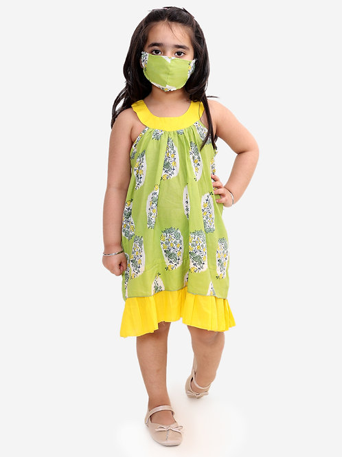 Cotton frock Block printed - Green
