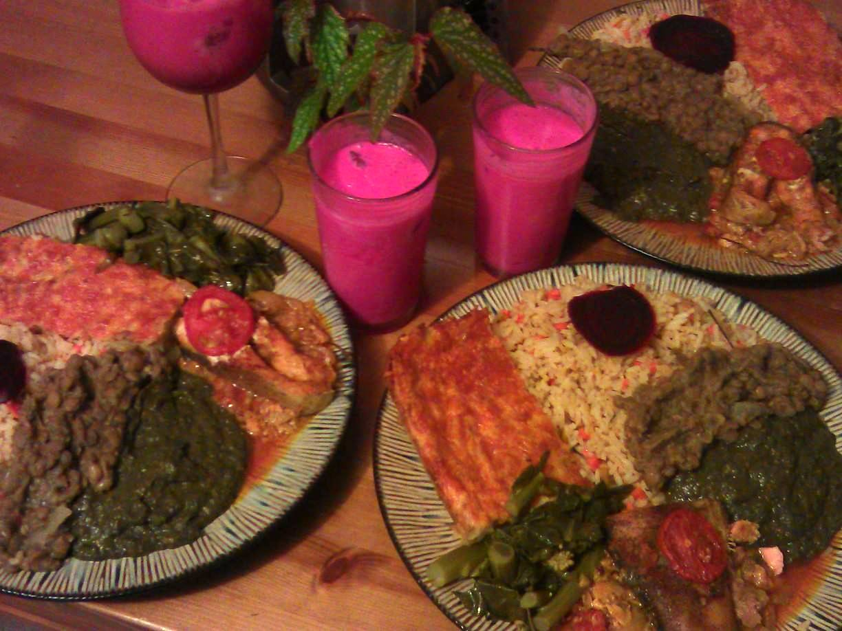 aked Salomon in lemon sauce, calypso rice, gai lan in oyster sauce, calaloo potato pie, and beet roo