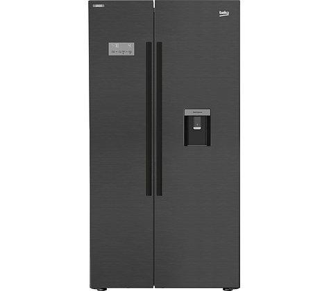 BEKO Pro ASDM241Z American-Style Fridge Freezer - Black Steel