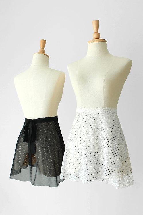Polka Dot Mesh Wrap Skirt