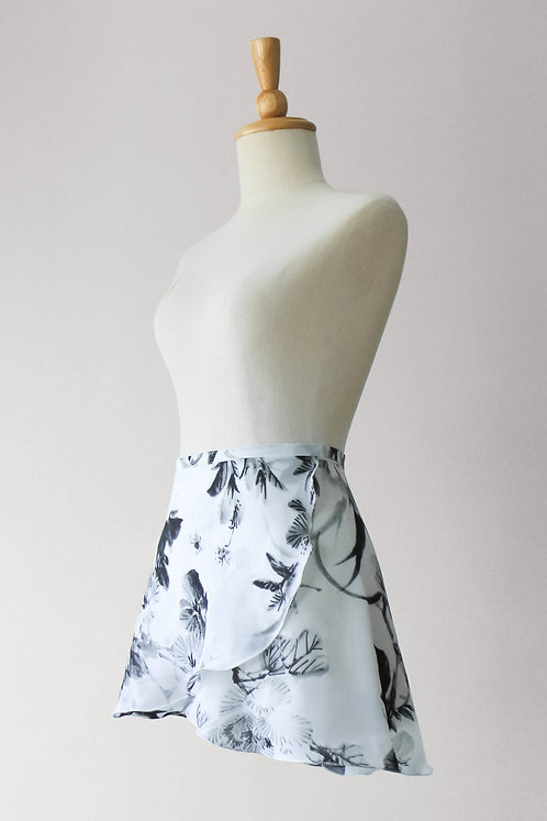Charcoal Flowers Wrap Skirt