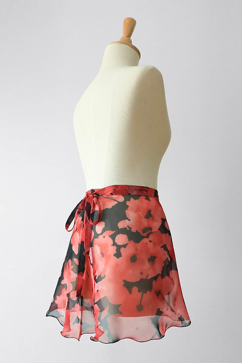 Crimson Flowers Wrap Skirt