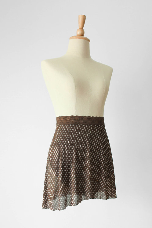 Chocolate Mesh Wrap Skirt