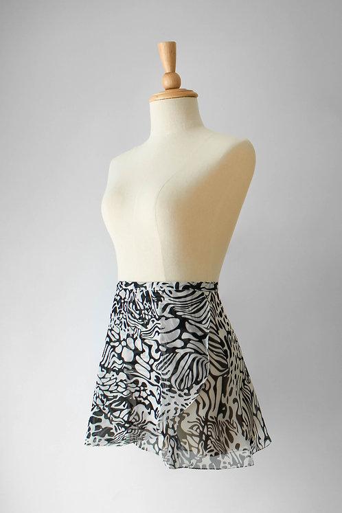Black & White Graphic Wrap Skirt