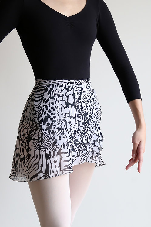 Black & White Graphic Wrap Skirt