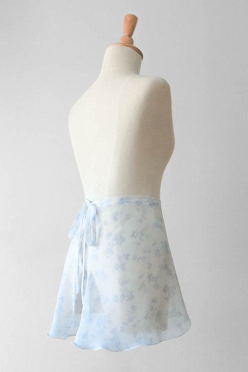 Baby Blue Roses Wrap Skirt