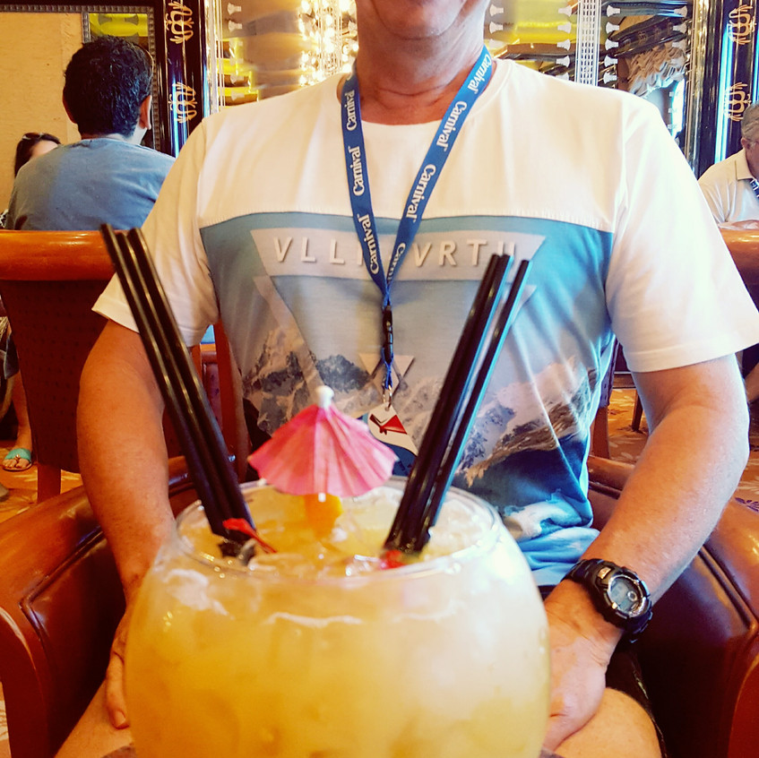TK & a fishbowl cocktail
