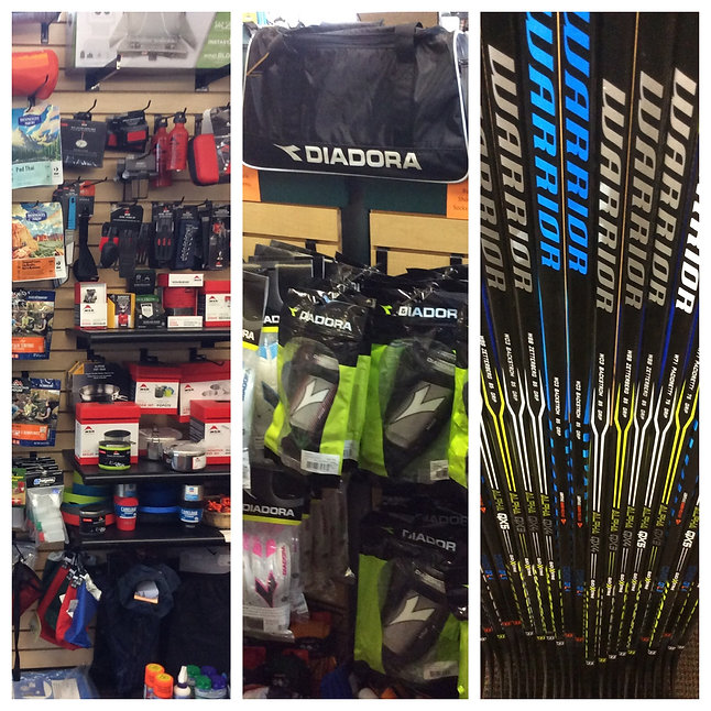 We carry a selection of camping gear, Soccer and hockey