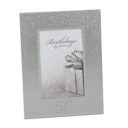 "4"" X 6"" - Birthdays by Juliana glitter mirror frame  - 40TH"
