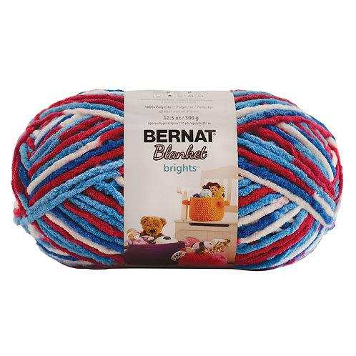 Bernat Blanket Brights -Red, White & Boom #12011