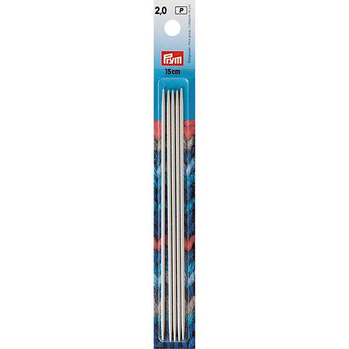Aiguille à tricoter à 2 pointes 15cm - 2mm
