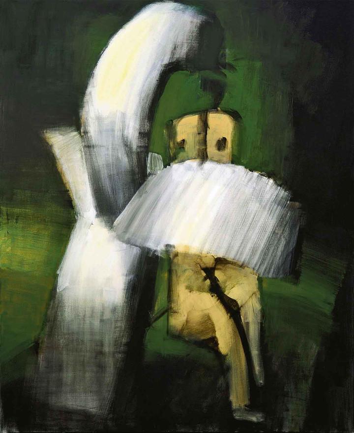 Leda bag svanens vinge, 2008, akryl på lærred.