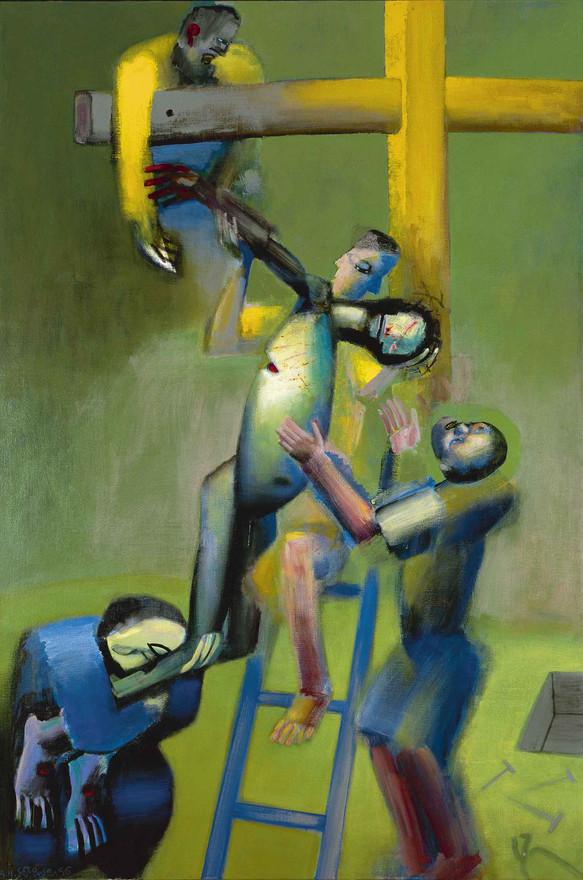 Korsnedtagelsen, 1998, akryl på lærred.